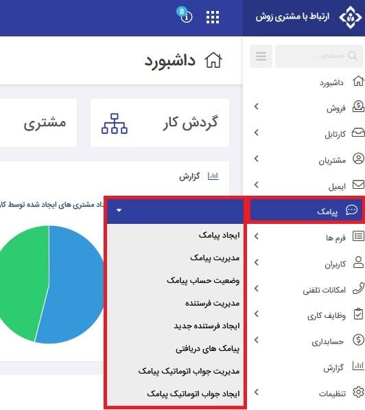 داشبورد تنظیمات فارسی کام برای اتصال به سامانه پیامکی