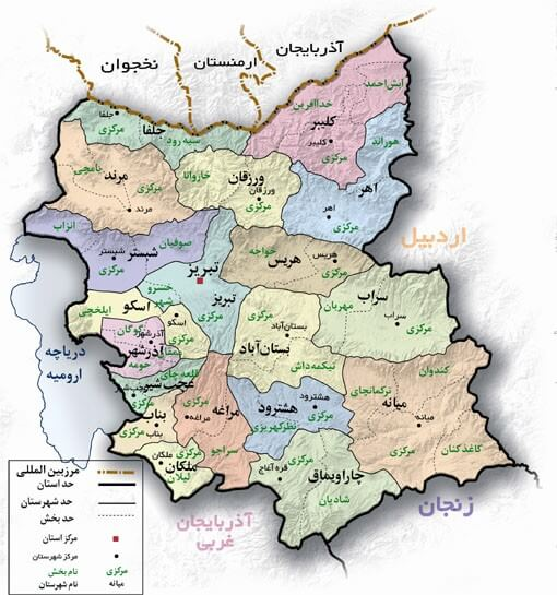 نقشه کدپستی آذربایجان شرقی