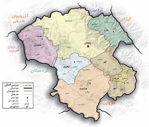 نقشه کد پستی استان زنجان