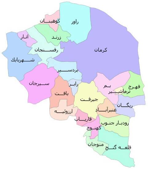 نقشه کد پستی کرمان